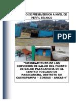 Perfil Puesto de salud Pasacancha, Distrito de Cashapampa - Sihuas - Ancash