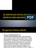 Klarifikasi Kehilangan Berkas Rekam Medis