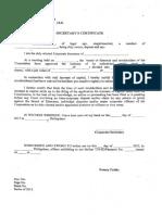 Secretarys Certificate Waiver Pre Emptive Rights