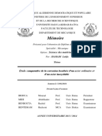 Étude Comparative de La Corrosion Localisée d'Un Acier Ordinaire Et Ss