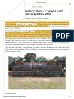 Indo – Thailand Joint Exercise Maitree 2018