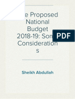 The Proposed National Budget 2018-19