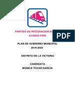 Plan de Gobierno Avanza País La Victoria