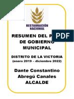 Plan de Gobierno Restauración Nacional La Victoria
