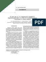 Manterola, Pineda, Mincir - 2008 - El Valor de p y La Significación Estadística. Aspectos Generales y Su Valor en La Práctica Clínica in-Annotated