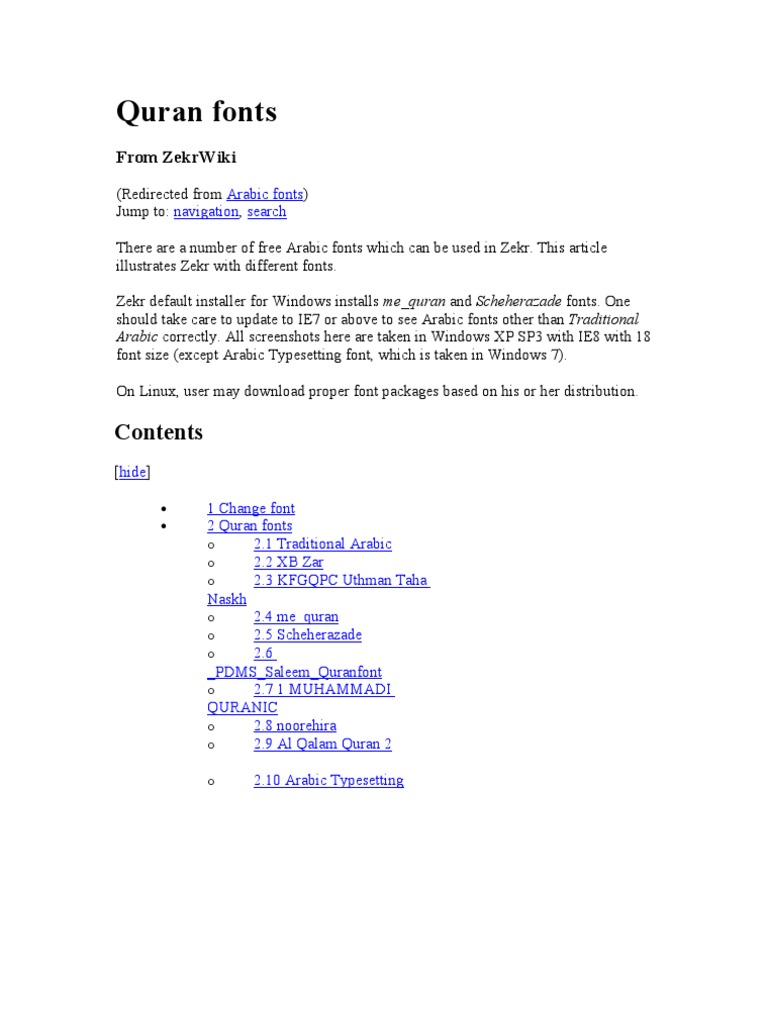 Quran Fonts | Árabe | Microsoft Windows