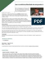 Projeto Aumenta Penas e Condiciona Liberdade de Estuprador à Castração Química - Câmara Notícias - Portal Da Câmara Dos Deputados