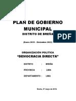 Plan de Gobierno Democracia Directa Breña