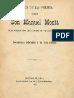 Juicios de la prensa sobre don Manuel Montt