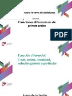 P_Sem01_Ses01_Ecuación diferencial ordinaria. Orden. Solución general y particular. Familia de curvas.ppt Semana 1 sesión 1.pdf