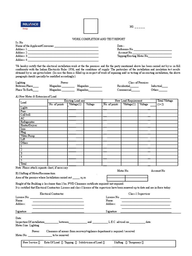 Work Completion and Test Report Format1 | Electric Power | Hvac