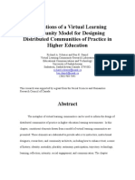 Implications of a Virtual Learning Community Model for Designing Distributed Communities of Practice in Higher Education