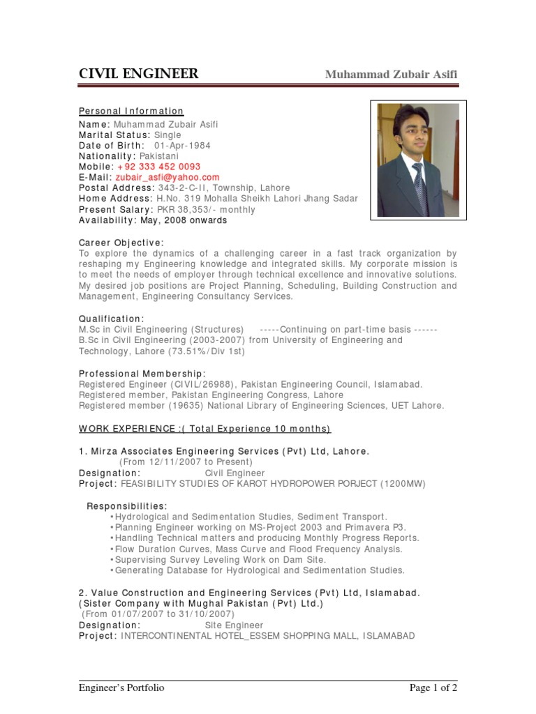 engineer sample resume construction engineer sample resume sample civil engineer pakistan - Dam Safety Engineer Sample Resume