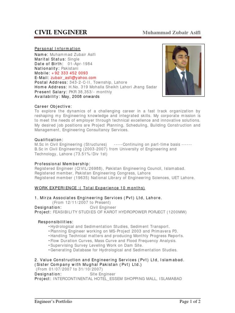 sample cv of civil engineer pakistan engineer - Civil Engineer Resume