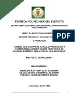 PROYECTO 1 La Produccion y Comercializacion de Harina Precocida de Platano