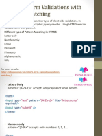HTML HTML5 Form Validations with Pattern Matching