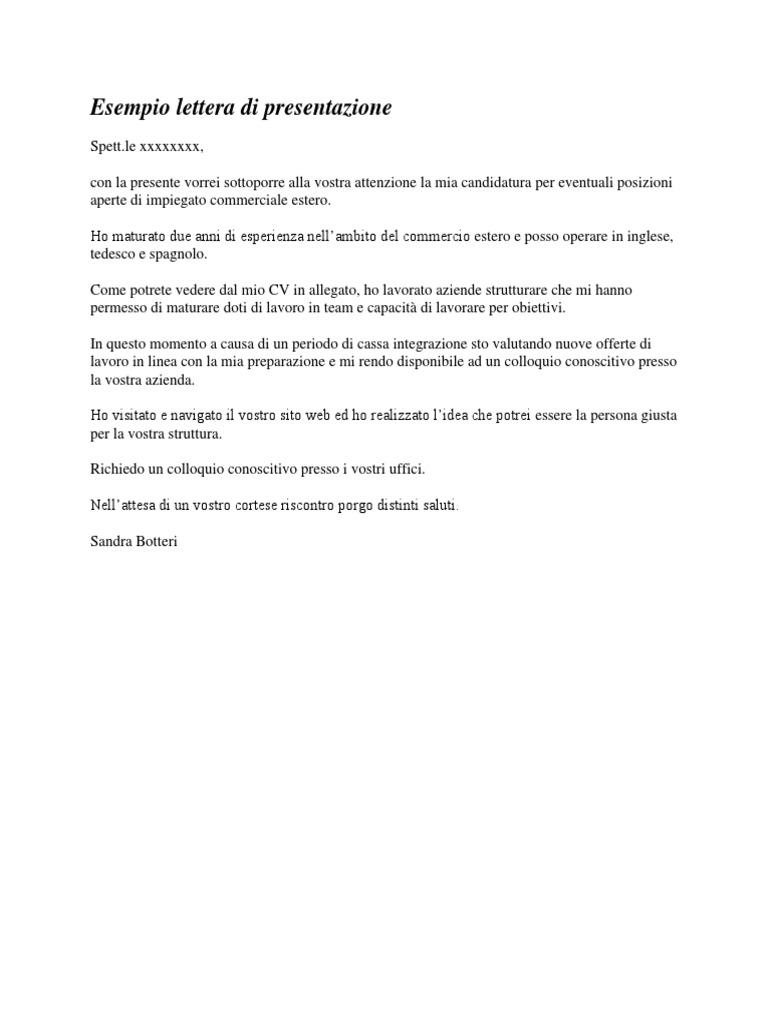 Esempio Lettera Di Presentazione Docx