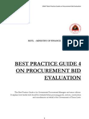 4 GUIDE Procurement Bid Evaluation En | Procurement | Supply