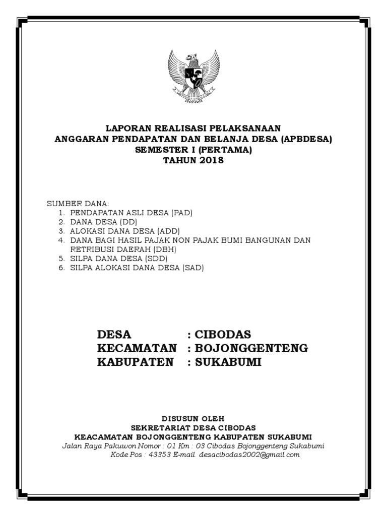 Cover Laporan Realisasi Pelaksanaan Docx