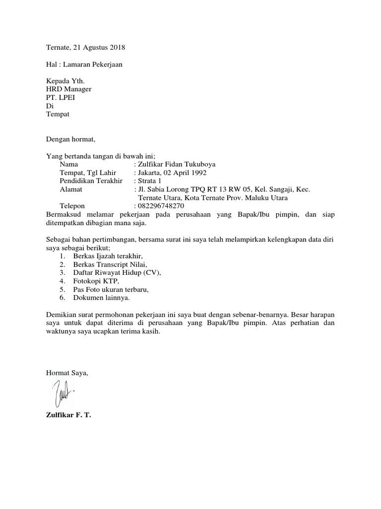 Contoh Surat Lamaran Kerja Umum 1 Pdf