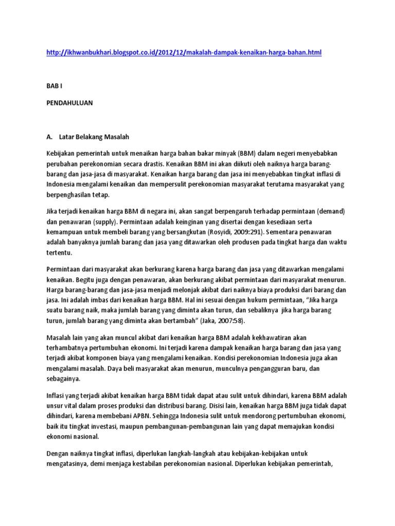 contoh essay tentang kenaikan bbm