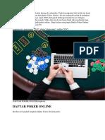 Daftar Poker Online Terpecaya