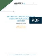Examen Oposiciones Geografía e Historia Cataluña 2018