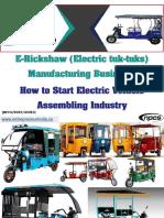 E-Rickshaw (Electric tuk-tuks) Manufacturing Business