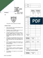 S5 09-10 Paper I Mock Exam
