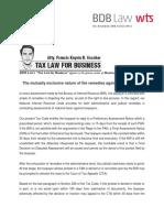 Tax Assessment Article c/o BDB