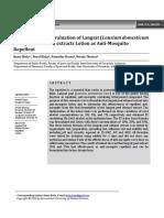 Formulation and Evaluation of Langsat Lansium Domesticum Corr Peel Ethanol Extracts Lotion as Anti Mosquito Repellent