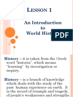 LESSON 1 an Introduction to World History