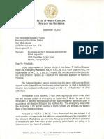 Gov. Roy Cooper FEMA Letter to President Donald Trump, 09/10/2018