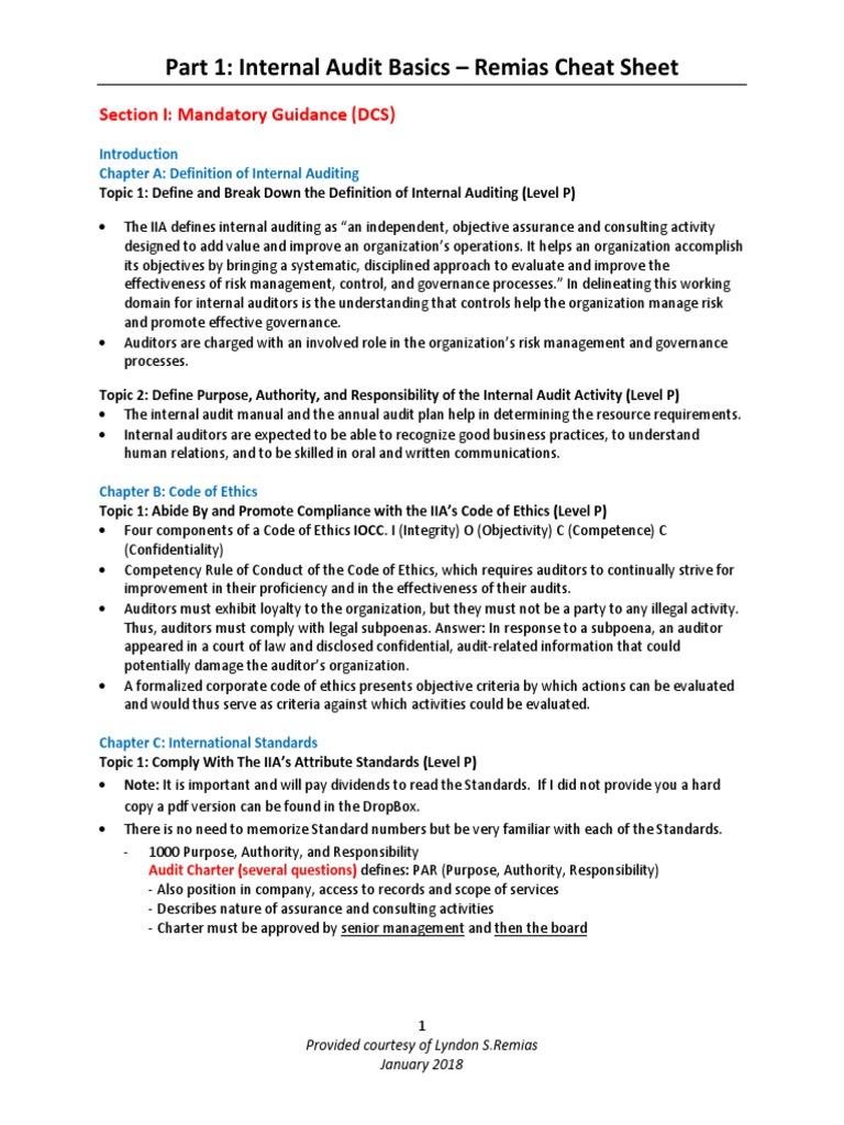 CIA Part 1 Cheat Sheet Updated January 2018 | Internal Audit
