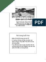 Chuyen de - Dinh Gia Co Phieu - Ths Dat