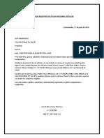 Carta de Registro en La Caja Nacional de Salud