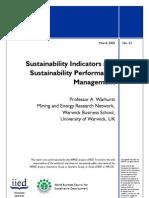 Sustainability Indicators and Sustainability Performance Mgt