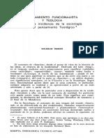 PENSAMIENTO FUNCIONALlSTA y TEOLOGÍA