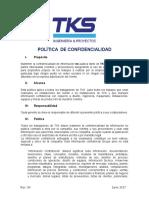 Politica de Confidencialidad TKS Rev. 00