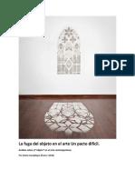 La Fuga Del Objeto en El Arte Un Pacto Difícil