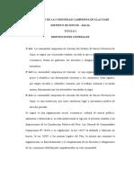 Estatuto de La Comunidad Campesina de Llacuari Distrito de Sincos