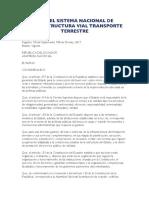 LEY ORGANICA DEL SISTEMA NACIONAL DE INFRAESTRUCTURA VIAL DEL TRANSPORTE TERRESTRE