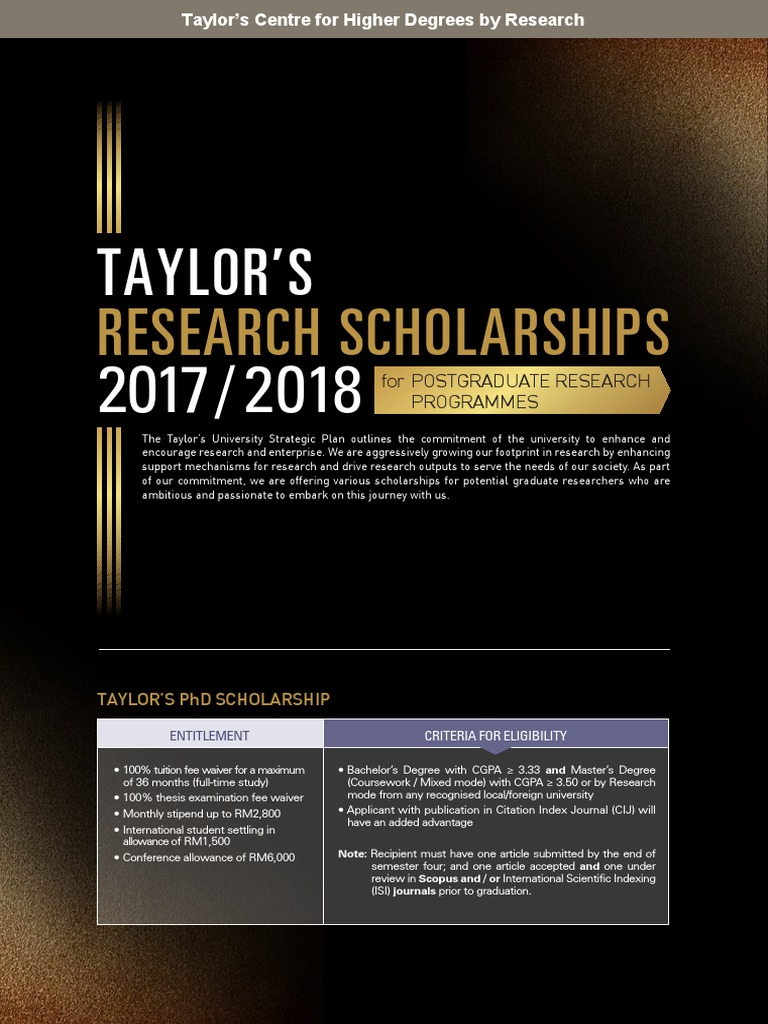 Taylor's Research Scholarship Leaflet | Postgraduate Education