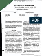 Aci 117-90 Spec. for Tolerance of Conc. Const.& Material