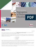 BDO Segregation of Duties Checklist