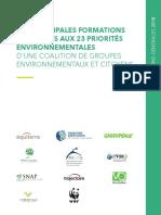Réponses des principales formations politiques aux 23 priorités environnementales d'une coalition de groupes environnementaux et citoyens