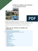 Lista de Animales en Peligro de Extinción