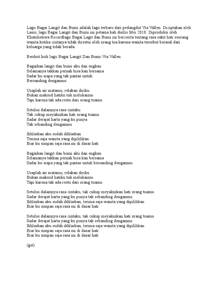 Lagu Bagai Langit Dan Bumi Adalah Lagu Terbaru Dari Pedangdut Via Vallen