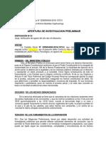 Apertura de Investigación Preliminar Lesión Física y Psicológica