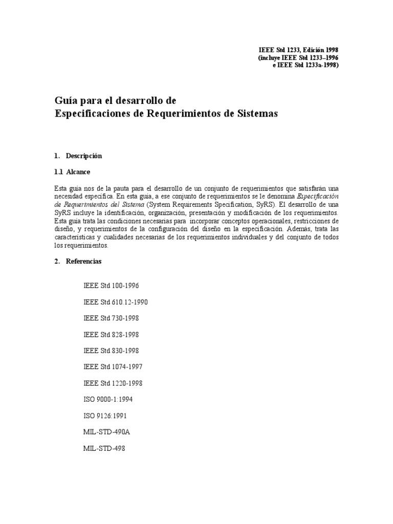 IEEE Std1233 1998 Esp Desarrollo de Especificacion de Reque